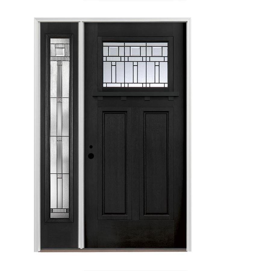 Pella Craftsman Decorative Glass Right Hand Inswing Prefinished Black Fiberglass Prehung Entry Door With Exterior Doors Exterior Front Doors Craftsman Exterior