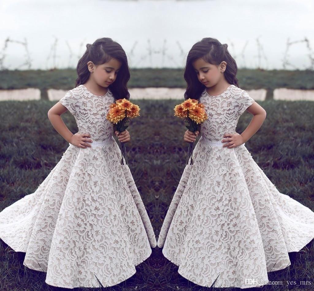 flower girls dresses for weddings jewel neck full lace short