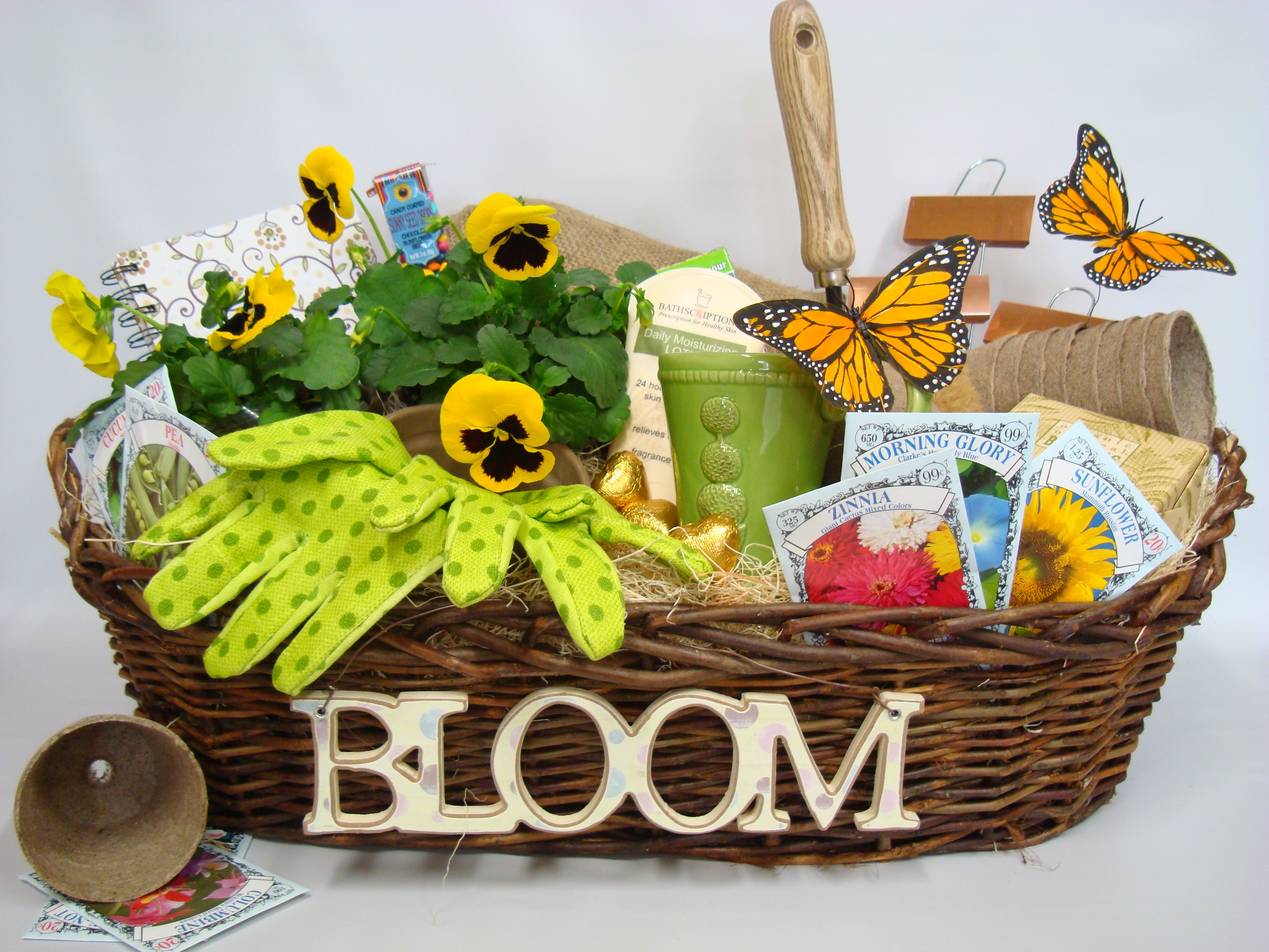 attaching wooden letters is a good idea as opposed to stamping on a basket raffle basketsgift basketsgarden