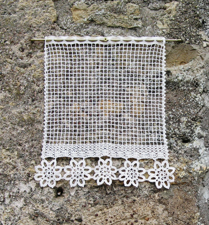 Fr paire de rideaux en filet et dentelle de crochet couleur ecru rideaux au crochet - Faire ses rideaux au crochet ...