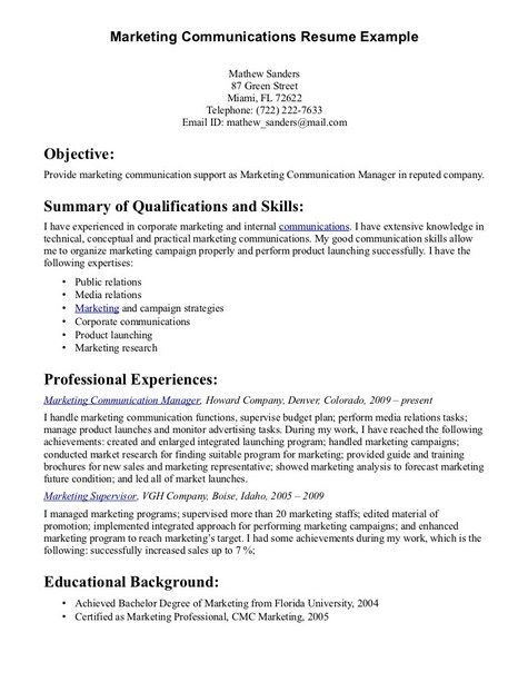 Communication Skills For Resume Job Resume Samples