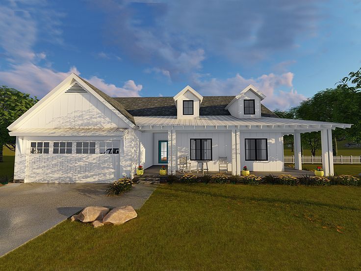 Lovely 050H 0118: Country Ranch House Plan With Covered Front Porch Idea