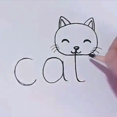 "Word ""cat"" Converted into a Cartoon Cat"