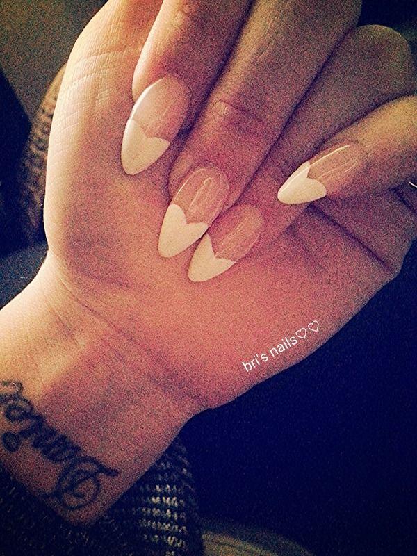 French Heart Tip Stiletto Nails   Nail Art   Pinterest   Stilettos ...