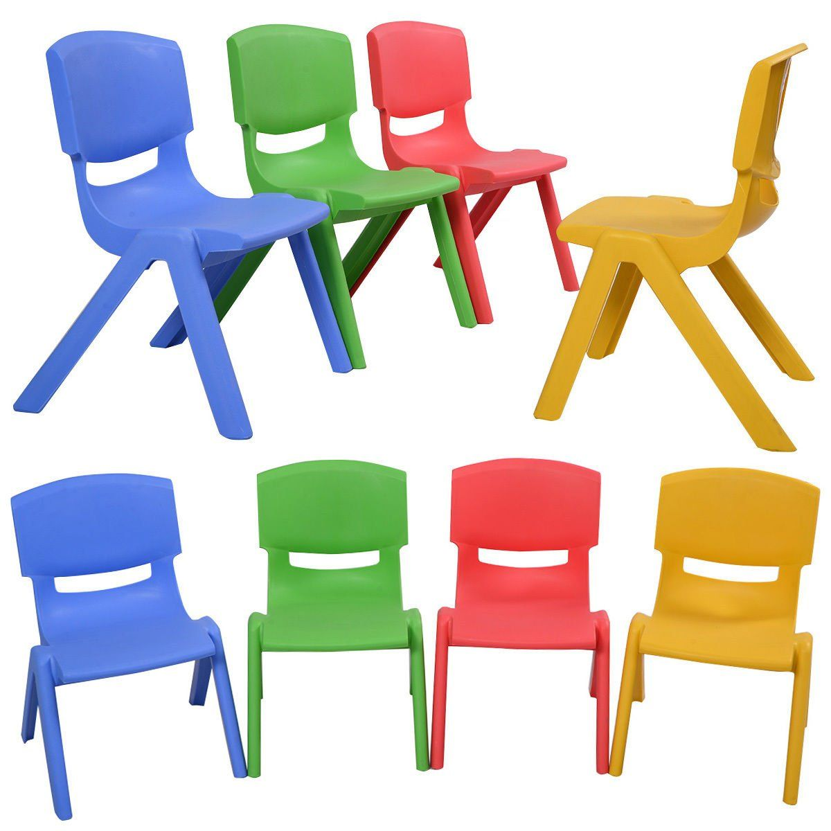 Costzon Set Of 8 Kids Plastic Chairs Stackable Play And Learn Furniture Colorful More Information Could Be Di Kids Plastic Chairs Toddler Chair Kids Chairs