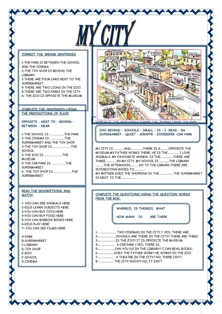 My City Worksheet Free Esl Printable Worksheets Made By Teachers Teaching English English Reading English Vocabulary [ 1079 x 763 Pixel ]