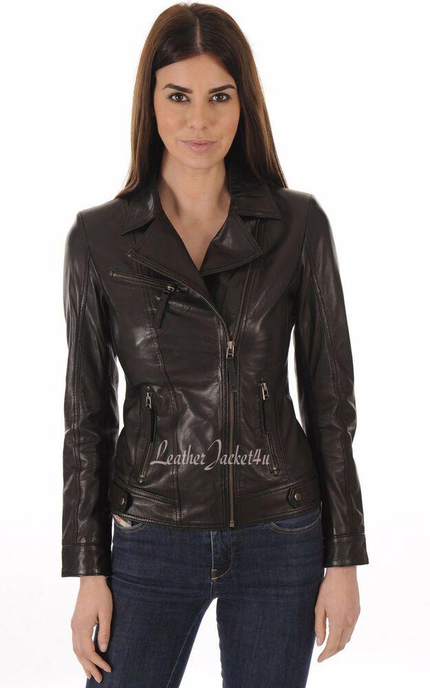 3e4b3790811 Women s Stylish Genuine Lambskin Motorcycle Biker Leather Jacket WJ 18