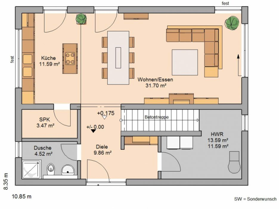 bildergebnis f r offener grundriss kleines haus architektur house house plans und house design. Black Bedroom Furniture Sets. Home Design Ideas