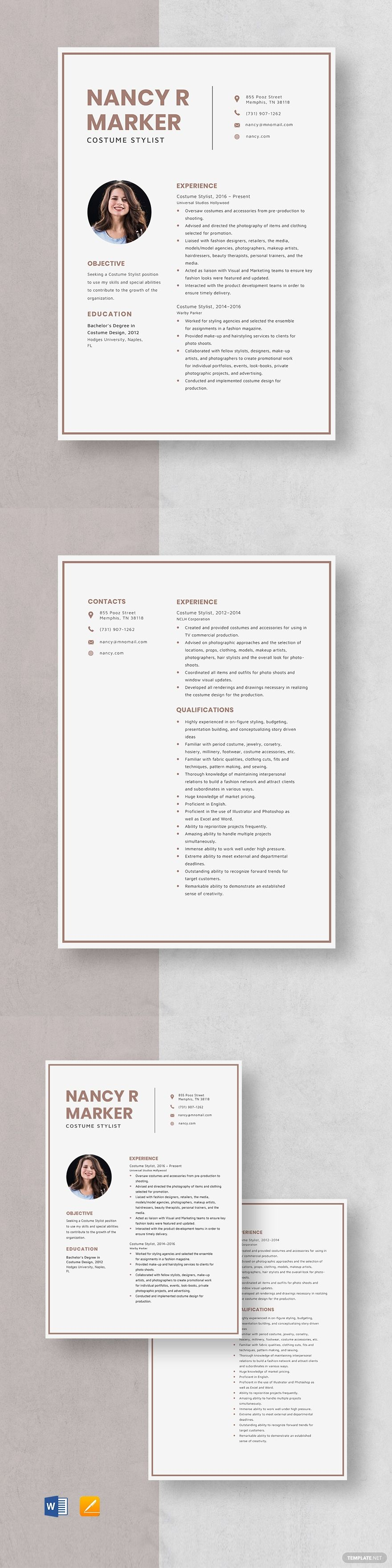 Costume stylist resume template in 2020 executive resume