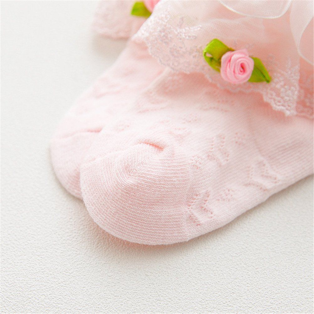 Baby Girls Spanish Style White Frilly Ankle Socks with Dark Pink Rosebud