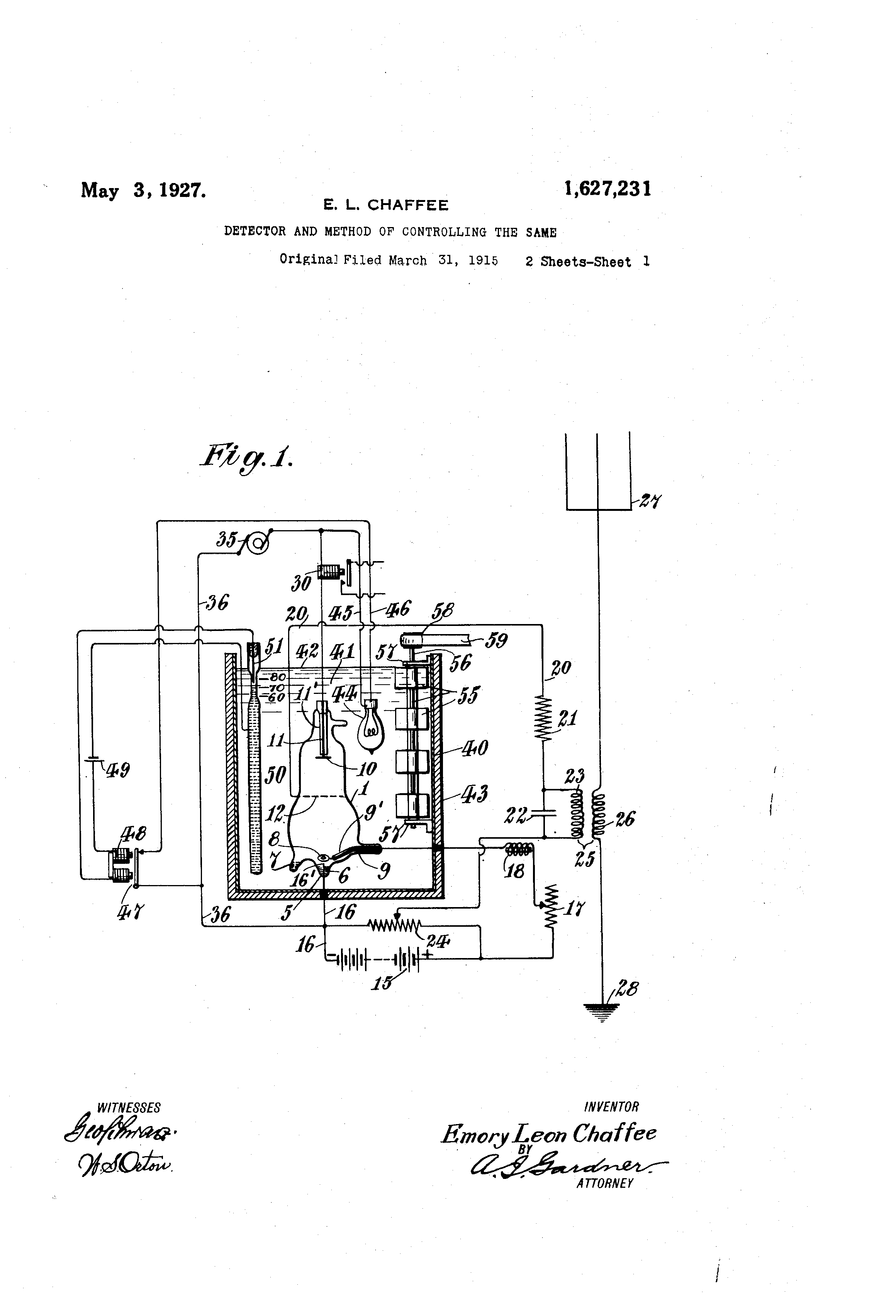 Patent US1627231 - Detector and method of controlling the same - May 3, 1927