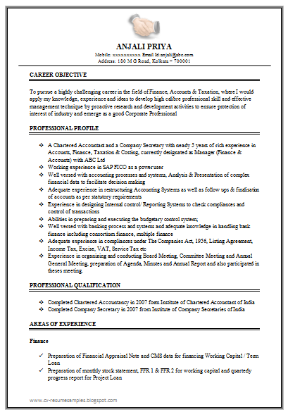 Excellent Work Experience Chartered Accountant Resume Sample Doc – Professional Resume Format for Experienced Free Download