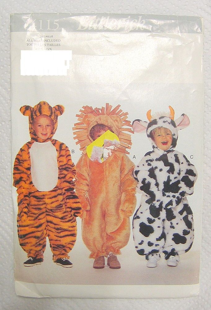 Halloween Animal Costume Sewing Pattern Child Lion Tiger Cow ...