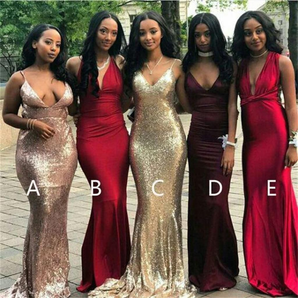 Cheap mismatched v neck sexy mermaid bridesmaid dresses popular