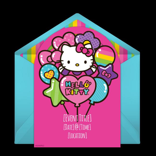 Free Hello Kitty Balloons Invitations Custom Birthday