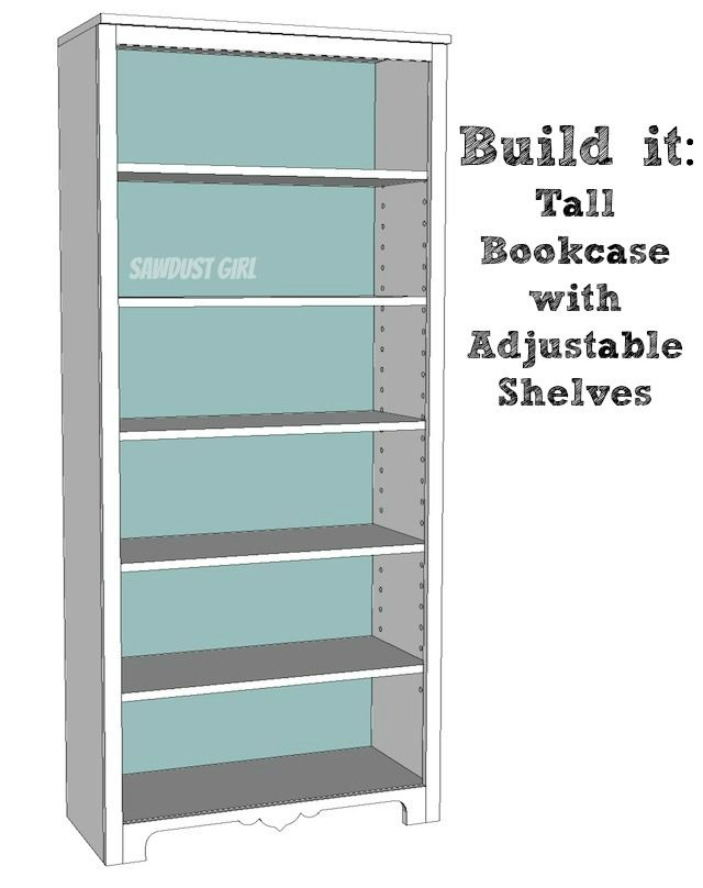Tall Bookshelf With Adjule Shelves Free And Easy Plans From Https Sawdust