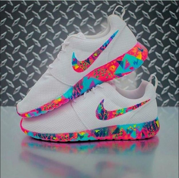 neon colors on white Nike shoes