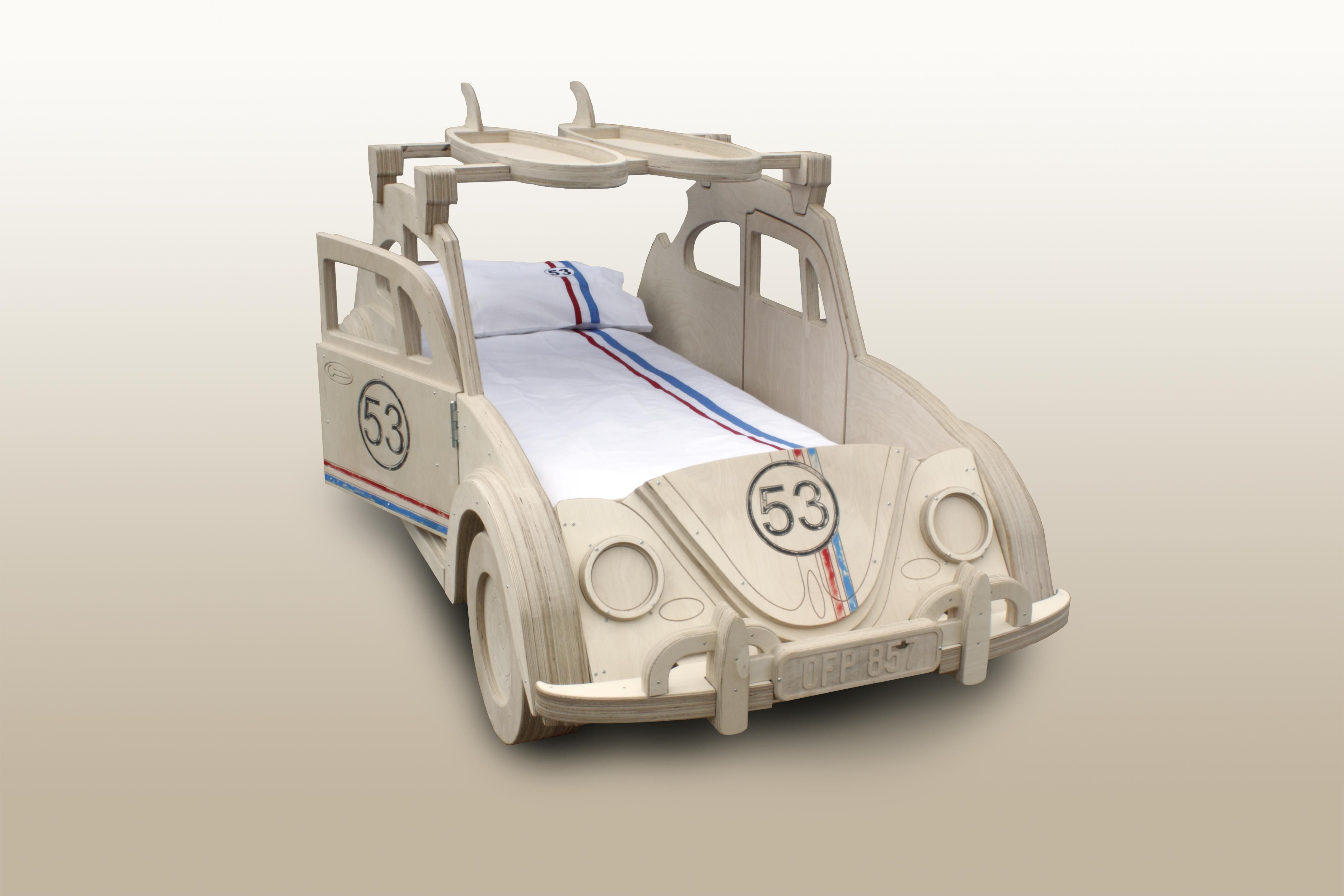 Vw Beetle Herbie Bed By Fun Furniture Collection With 53 Bedding By Classic Reflections Www Funfurniturecollection Co Kids Beds Plans Kid Beds Cool Furniture