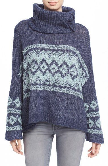 A nubby Fair Isle pattern is knit into a slouchy wool-blend ...