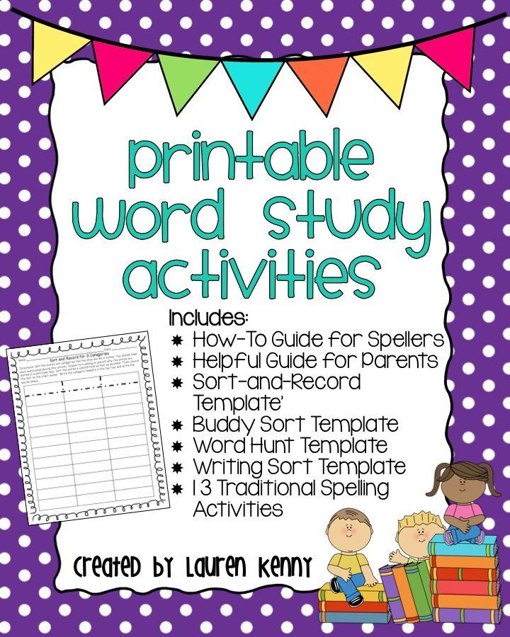 Printable Word Study Activities for Homework or Word Study-4 sorting