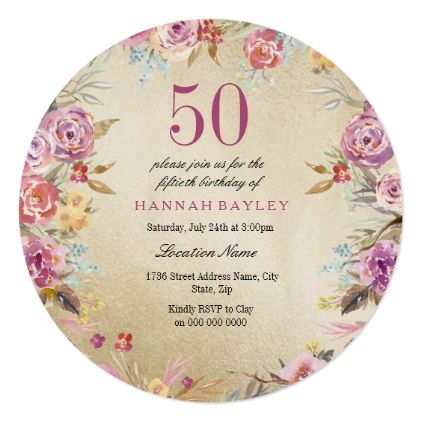 Pink Floral Country Gold 50th Birthday Party Card