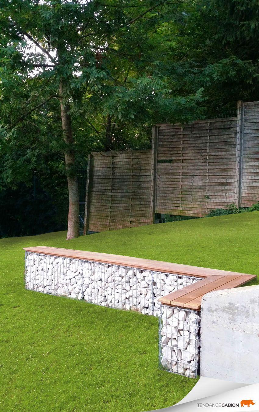 Gabion garden bench landscape by design pinterest - Terrasse en cailloux ...