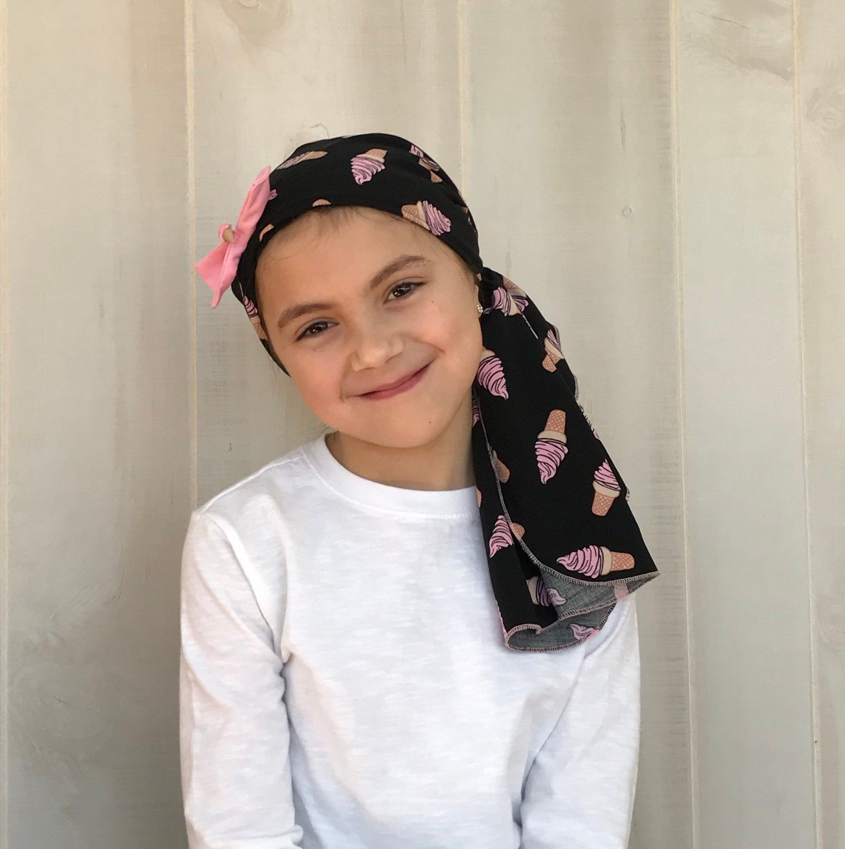 Child's Pre-Tied Head Scarf, Girl's Chemo Hat, Cancer Head Cover, Alopecia Headwear, Head Wrap, Cancer Gift, Hair Loss, Pink Ice Cream Cones #tieheadscarves
