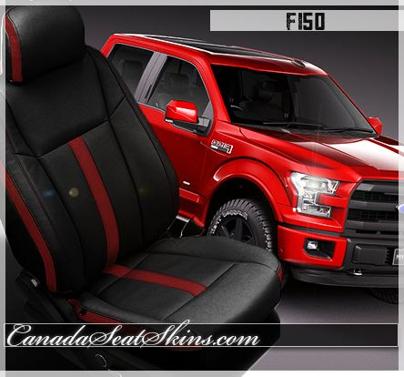 2015 Ford Leather Package Black With Red Stripe Canadaseatskins Com Leather Car Seats Ford Interior Ford