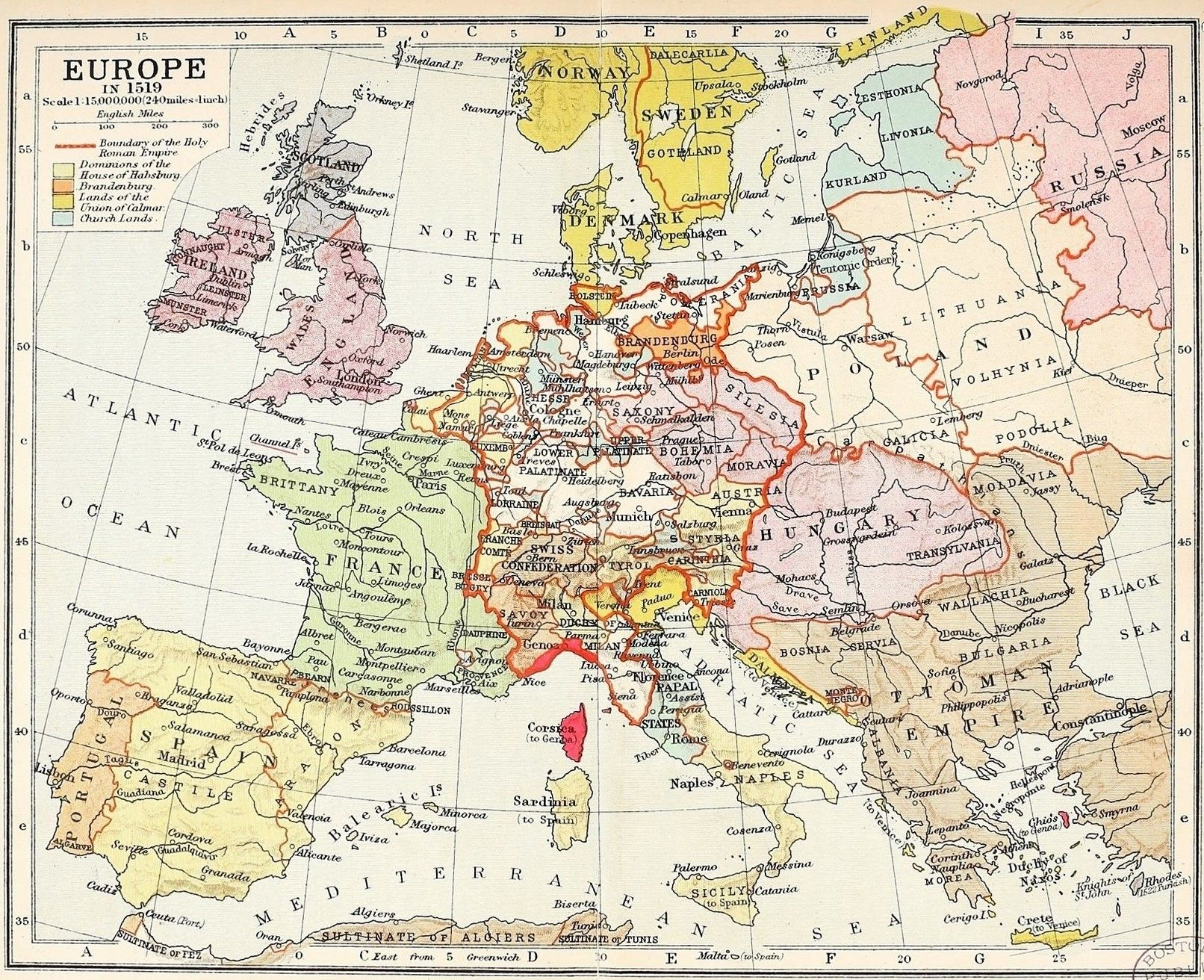 Map of Europe boundary of the Holy Roman Empire dominions of the
