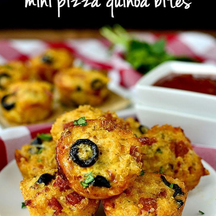 Mini Pizza Quinoa Bites Recipe Appetizers with cooked quinoa, eggs, egg whites, pizza toppings, shredded mozzarella cheese, grated parmesan cheese, italian seasoning, pizza sauce