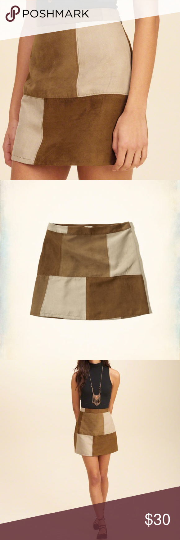 d1e76b03b ❤Hollister Patchwork A-Line Skirt❤ NWT Size 7 💕Hollister A-Line Skirt.  NWT. Size 7. Made from Faux Suede with a patchwork design. This skirt is  lined and ...