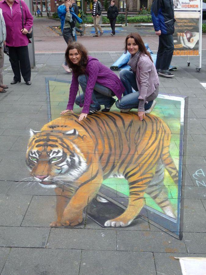 3D Street Art by Nikolaj Arndt - riding a tiger
