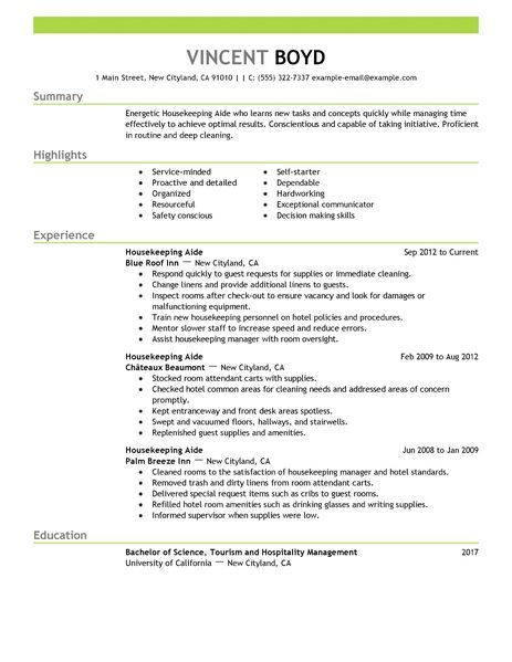 Sample Cover Letter Housekeeping Job Resume Cleaning Duties