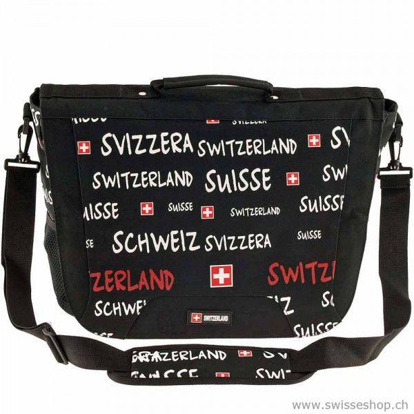 Umhangetasche Mit Schriften Switzerland Schwarz Bag With