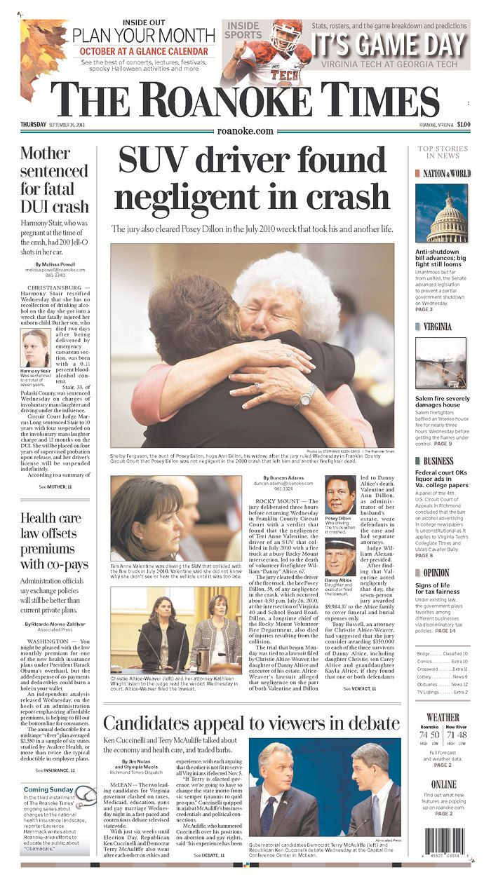 The Roanoke Times front page: Sept. 26, 2013. Sign up for a digital subscription at roanoke.com/subscribe.