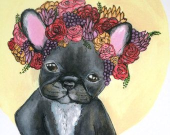 French bulldog illustration print, red rose flower crown. 1/5. A4 portrait. gift for pet and fashion lovers,cheap affordable art.