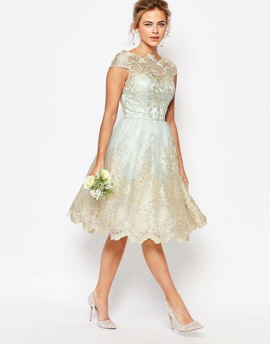 Wedding dresses under $300  Image  of Chi Chi London Premium Metallic Lace Midi Prom Dress with