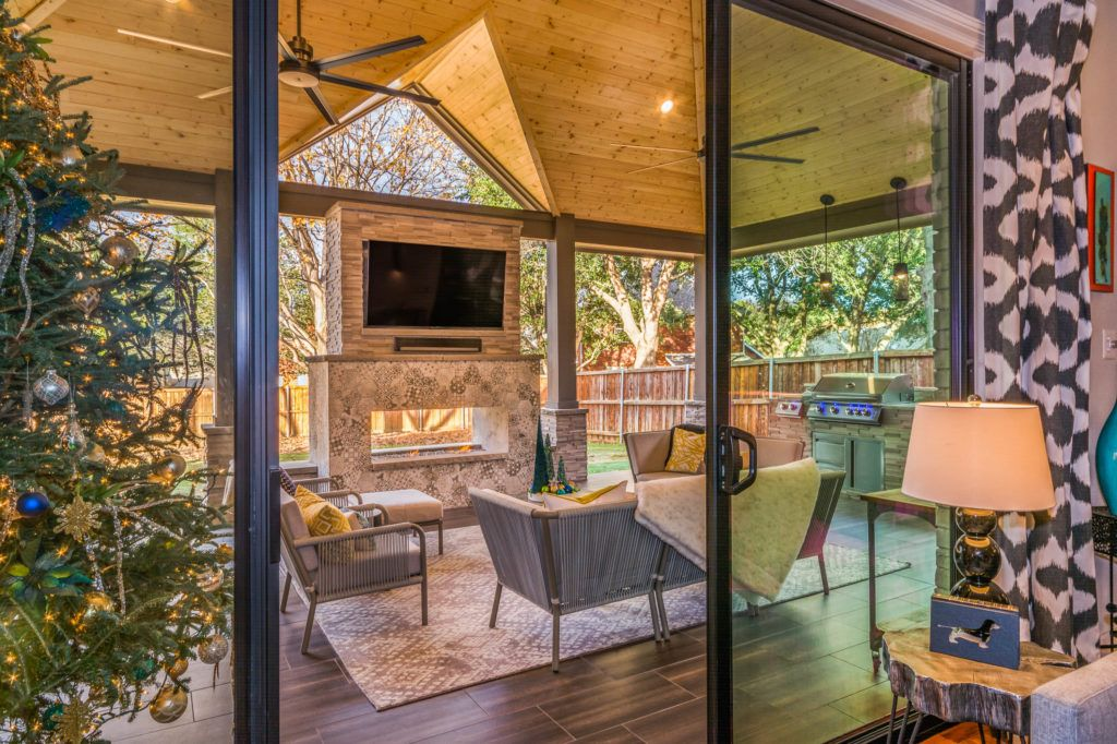 Contemporary Patio Cover with Fireplace in Flower Mound