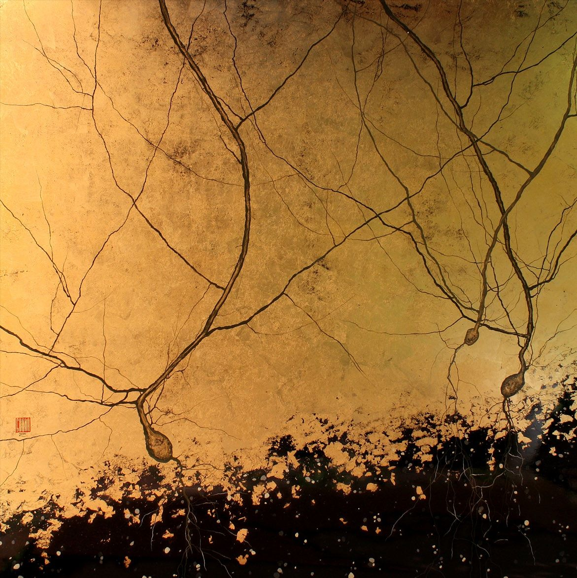 neuron art! Greg Dunn - Black and Gold Purkinjes, 2010