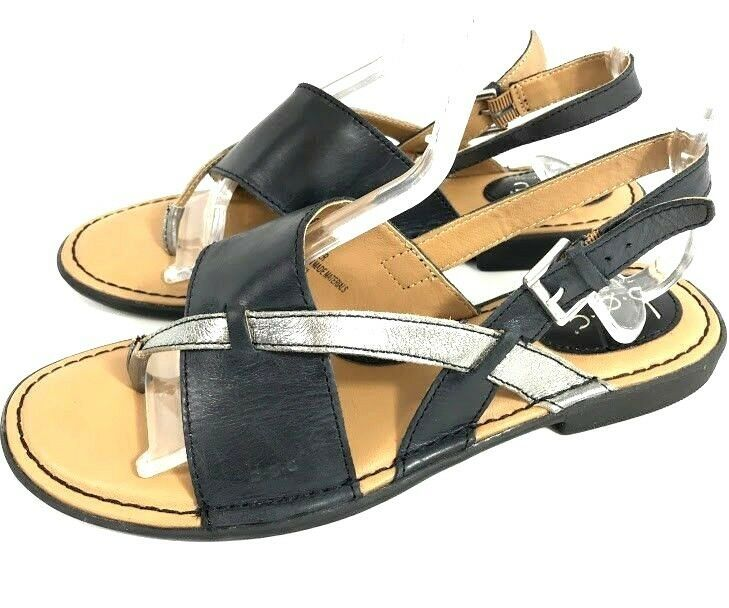bb97a77089068d BOC by Born Womens Sandals Black Silver Size 8 Leather Slingback Buckle  Strappy  BC  SlingbackSandals  Casual
