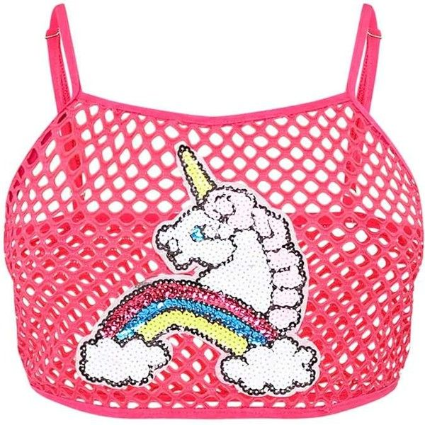 Trixie Pink Fishnet Unicorn Applique Crop Top (485 MXN) ❤ liked on Polyvore featuring tops, cut-out crop tops, applique top, pink top, unicorn top and fishnet top