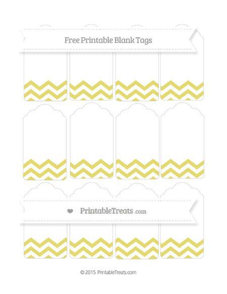 Free Straw Yellow Chevron Blank Tags tag printables Pinterest