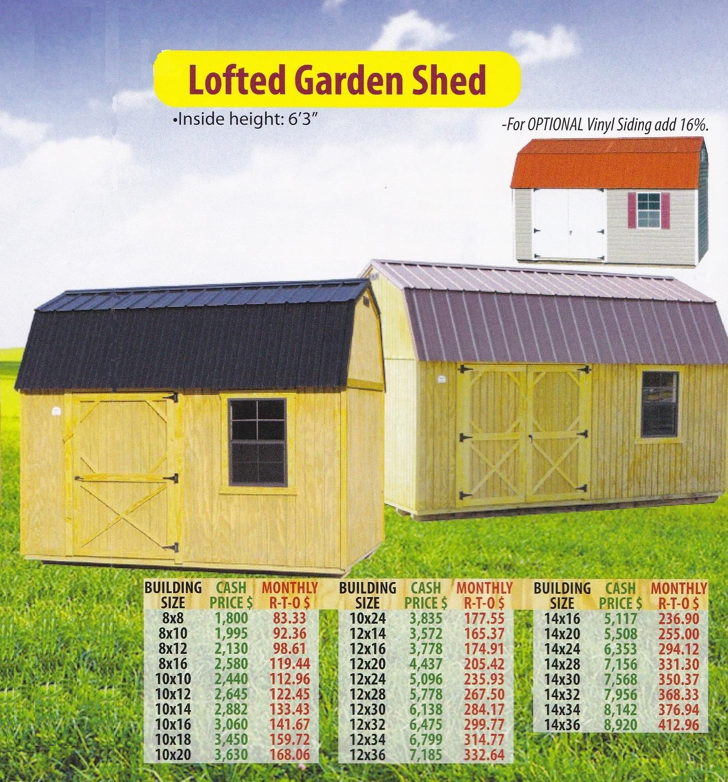 Lofted Garden Shed Vinyl Siding Built In Storage Shed