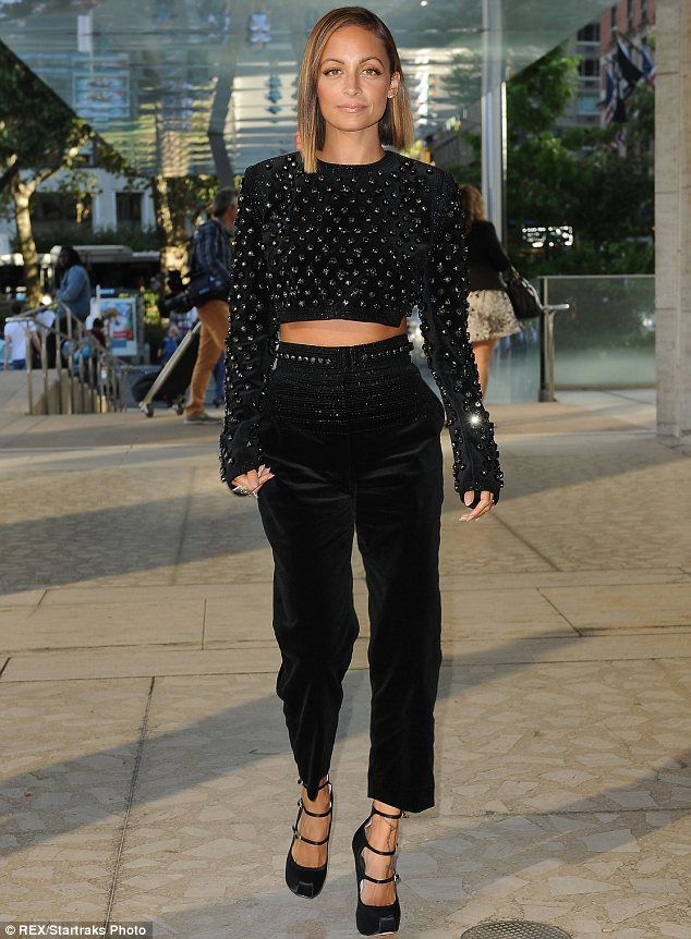61a3fd567b0c Top of the crops: Nicole Richie at the event of New York Fashion Week, in  an all-black and stone encrusted midriff-baring ensemble