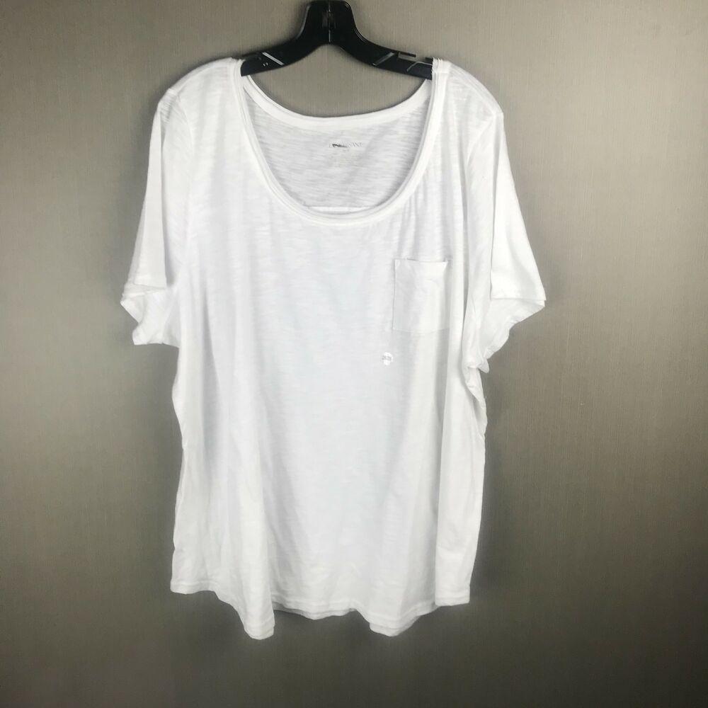 Lane Bryant Womens 2628 Plain White Tee Shirt Pocket