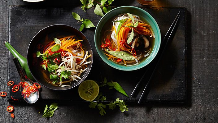 Vegetarian pho with shiitake mushrooms | Pho is all about the broth and its seasonings, so a little effort and a good homemade stock will make a huge difference to this vegan- and vegetarian-friendly soup. Flavour balance will take a little trial and error, and as this recipe contains no meat or fish sauce, you'll have to play around with the lime/hoisin/chilli sauce medley to find your perfect broth.