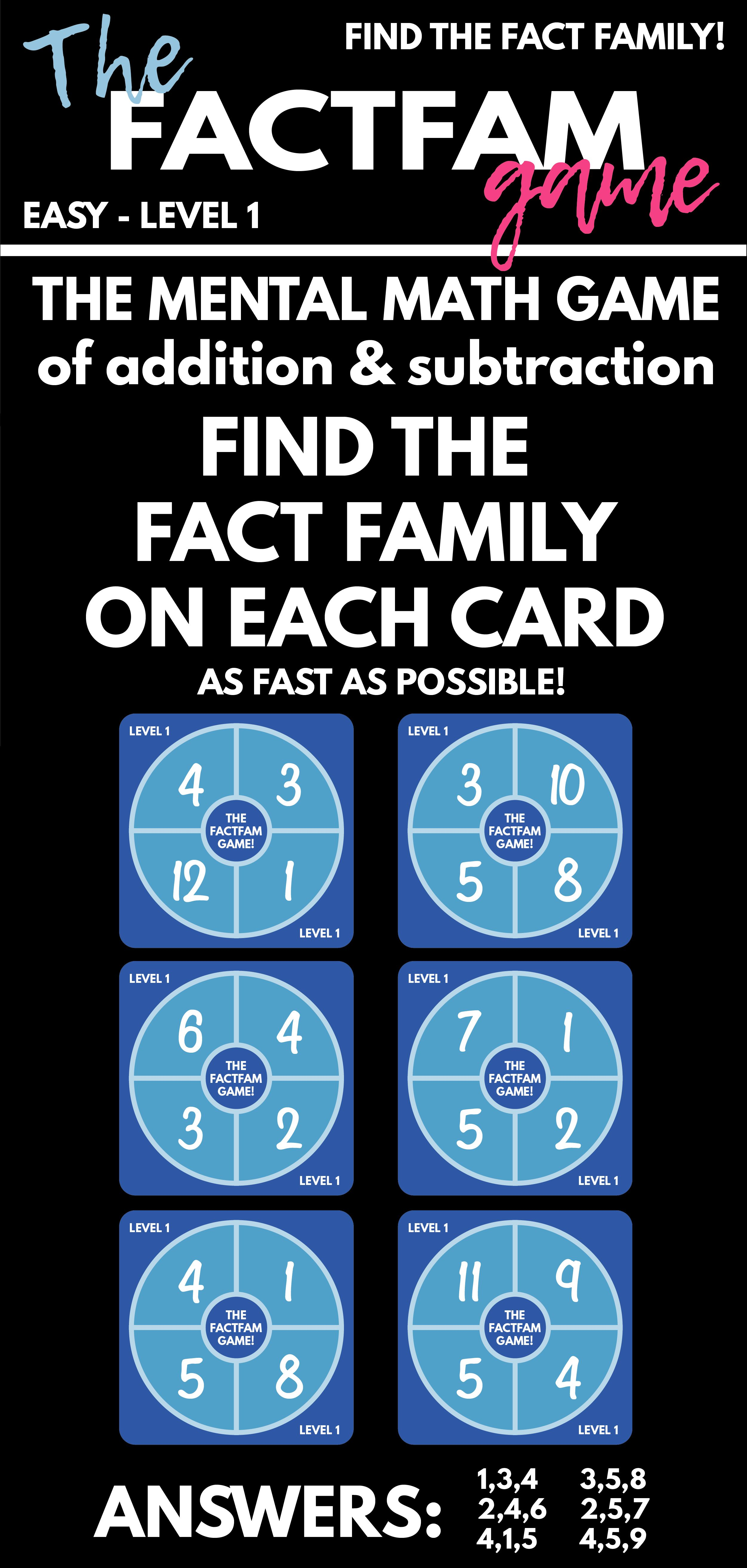 The FactFam Game! Find the Fact Family! Mental Math Game
