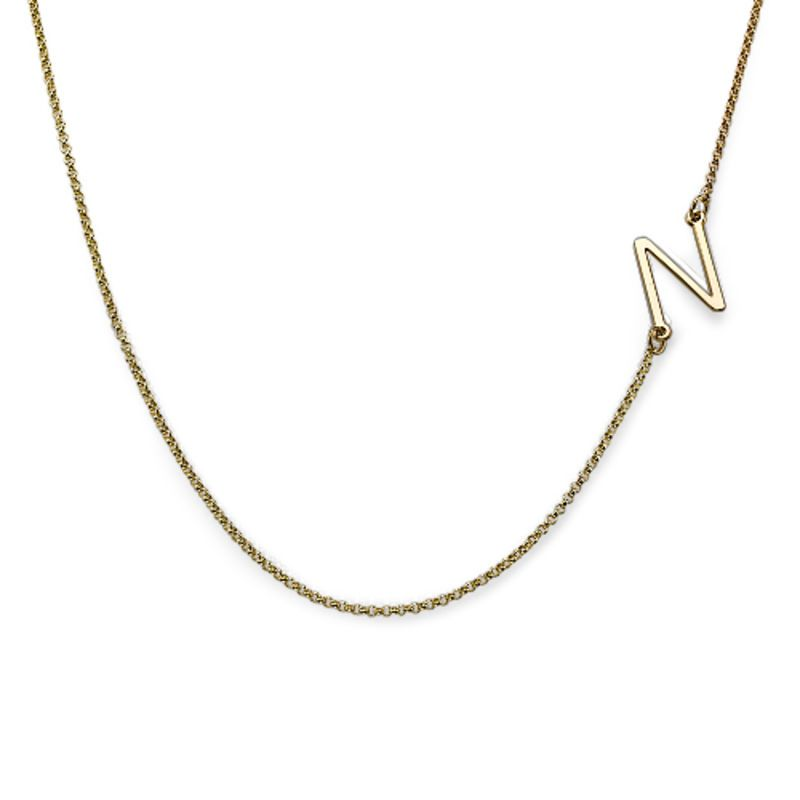 18ct Gold Plated Sideways Initial Necklace Initial Necklace Letter Pendant Necklace Unique Necklaces