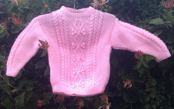 Girl's handknit pink aran sweater with back by bebbyjumpers, £18.00