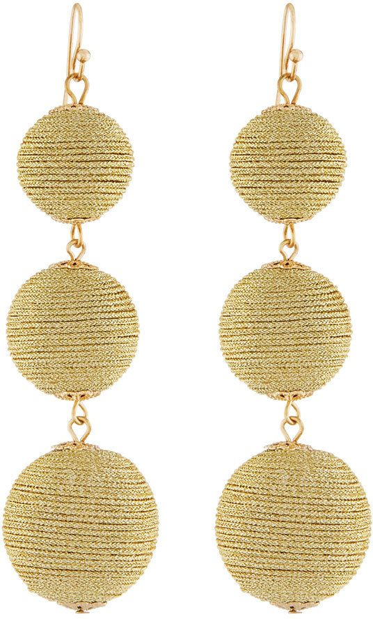 Kenneth Jay Lane Thread Triple-Drop Ball Earrings, Golden